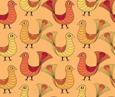 Free Seamless Pattern With Yellow And Red Birds Stock Photo - 26239180
