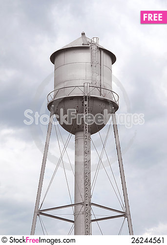 Free Old Fashioned Gray Metal Water Tower Stock Image - 26244561