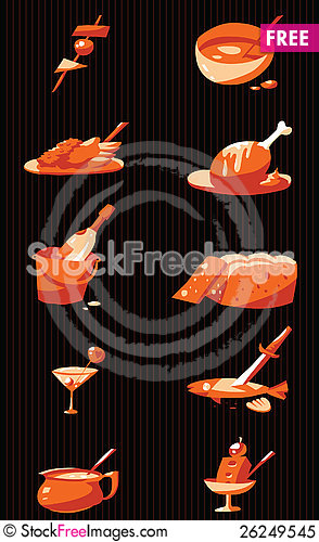 Free Stylized Food Icons Royalty Free Stock Photo - 26249545