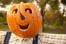 Smiling Halloween Pumpkin Face Stock Photos