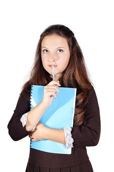 Schoolgirl With A Folder Isolated Royalty Free Stock Image