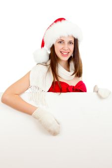 Free Young Girl In Red Santa Hat  With Billboard Stock Images - 26250994
