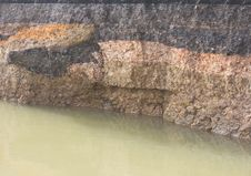 Layer Of Soil Under The Asphalt On The Water. Stock Image