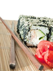 Free Sushi Rolls With Black Roe And Sesame Royalty Free Stock Image - 26254346