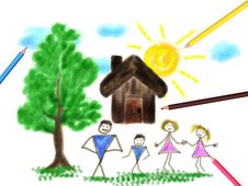 Free Children S Paint Family Royalty Free Stock Images - 26254529