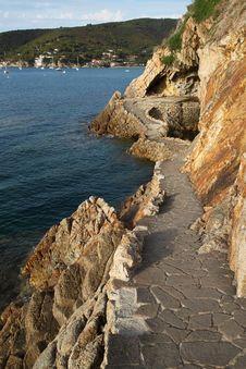 Cliff On The Coast Of Biodola Stock Photo