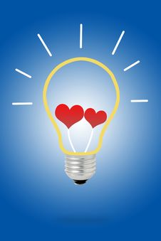 Light Bulb With Hearts Royalty Free Stock Image