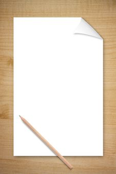 Free Blank Paper And Pencil On Wooden Table Stock Image - 26265801