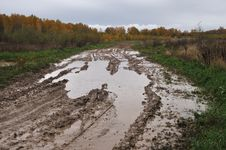 Puddles On The Dirt Road Royalty Free Stock Image