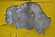 Old Wall With Dirty Broken Yellow Paint Royalty Free Stock Photos