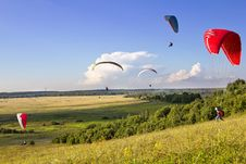 Free Multiple Paragliders Soar In The Air Stock Photo - 26273270