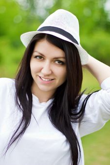 Free Attractive Young Female Wearing A Straw Hat Stock Photography - 26283872