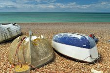 Free Three Boats On The Beach Upside-down Royalty Free Stock Photo - 26284585