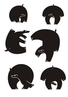 Bear Silhouettes Stock Photography