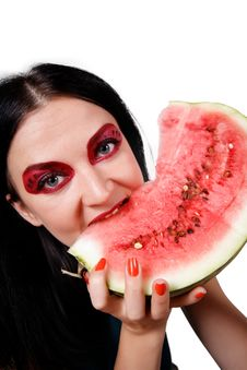 Free Portrait Of A Girl Eating A Watermelon Royalty Free Stock Images - 26288869