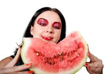 Free She Licks Her Lips Looking At The Watermelon Stock Photo - 26288880