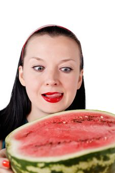 Free She Licks Her Lips Looking At The Watermelon Royalty Free Stock Image - 26288896