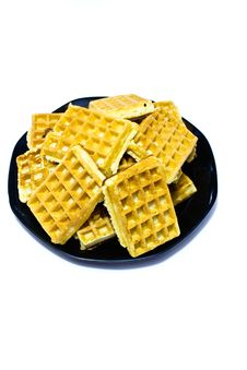 Free Waffles On A Plate Royalty Free Stock Image - 26291896
