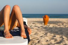 Free Beautiful Female Legs On The Beach Stock Images - 26299004