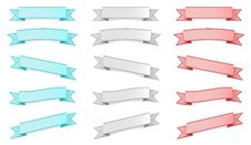 Free Three Colors Ribbons Set Royalty Free Stock Image - 26299306
