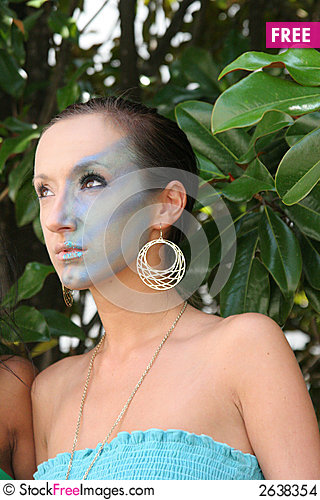Free Makeup Model In Trees Stock Images - 2638354