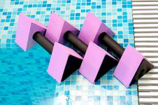 Free Three Pink Aqua Dumbbells Stock Image - 2632471