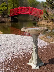 Birdbath And Bridge Royalty Free Stock Photos