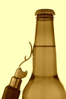 Beer Bottle & Opener Stock Photo