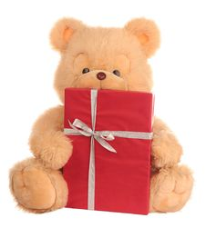 Bear With Present Stock Photography