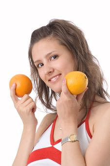 Free The Girl With Oranges Royalty Free Stock Photos - 2636178