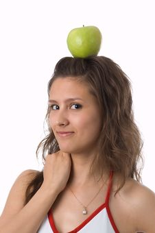 Free The Girl With A Green Apple Royalty Free Stock Photo - 2636915