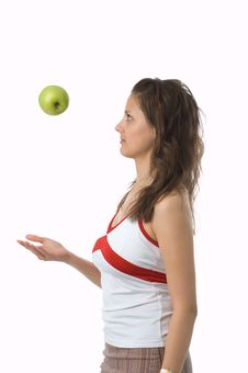 Free The Girl With A Green Apple Royalty Free Stock Photo - 2637345
