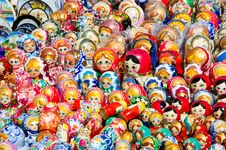 Makeshift Stand With Matryoshka Dolls Royalty Free Stock Images