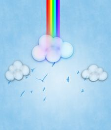 Abstract Rainbow And Clouds Stock Photography
