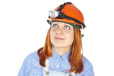 Free Girl Worker In Helmet Royalty Free Stock Photography - 26309747