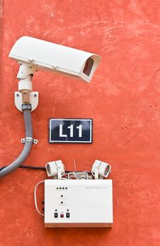 Security Camera On The Wall, Cctv Royalty Free Stock Images
