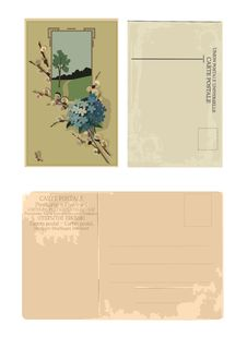 Collection Of Retro Postcards Stock Photos