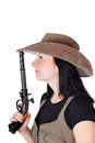 Free Girl With Guns Isolated Stock Image - 26323981