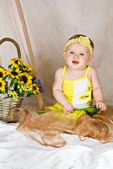 Baby Girl Sitting And Smiling Royalty Free Stock Photography
