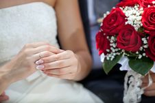 Beautiful Bridal Bouquet At A Wedding Stock Images