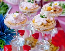 Dessert In A Glass Salad Bowl Stock Photo