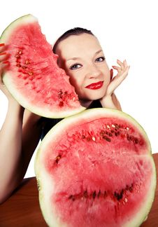 Free Cute Girl Loves Watermelon Stock Images - 26324054