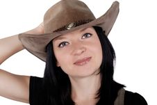 Free Portrait Of A Pretty Cowgirl Isolated Stock Image - 26324131
