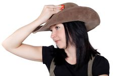 Portrait Of A Pretty Girl With A Hat Stock Photography
