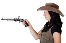 Free Girl With Guns Aiming Isolated Royalty Free Stock Image - 26324336