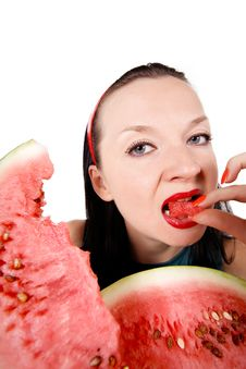 Free Brunette Girl Eating Fresh Watermelon Royalty Free Stock Images - 26324409