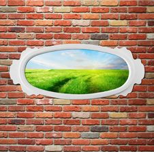 Free Vintage Frame On Brick Wall With Meadow Stock Photo - 26329290