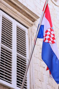 Free National Flag Of Croatia On The Wall In Dubrovnik Royalty Free Stock Photos - 26333778