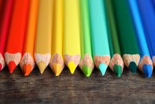 Free Crayons On Wood Stock Photography - 26341172