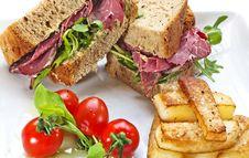 Free Closed Pastrami Sandwich Royalty Free Stock Photo - 26342165